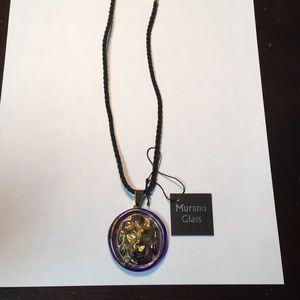 NWT Muraro Glass Leo Lion Necklace Italy Sterling
